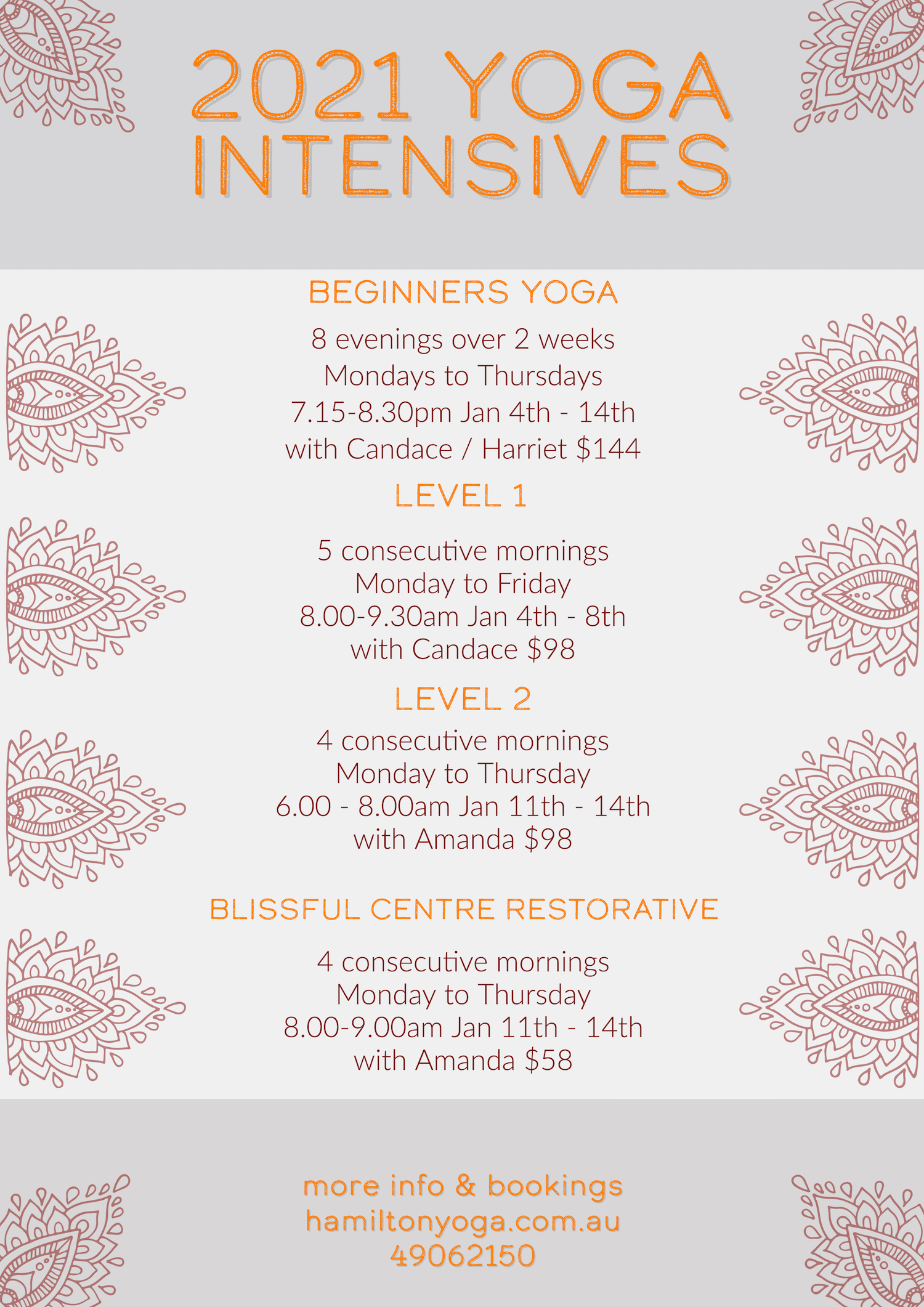 Summer Intensives schedule at Hamilton Yoga in Newcastle New South Wales
