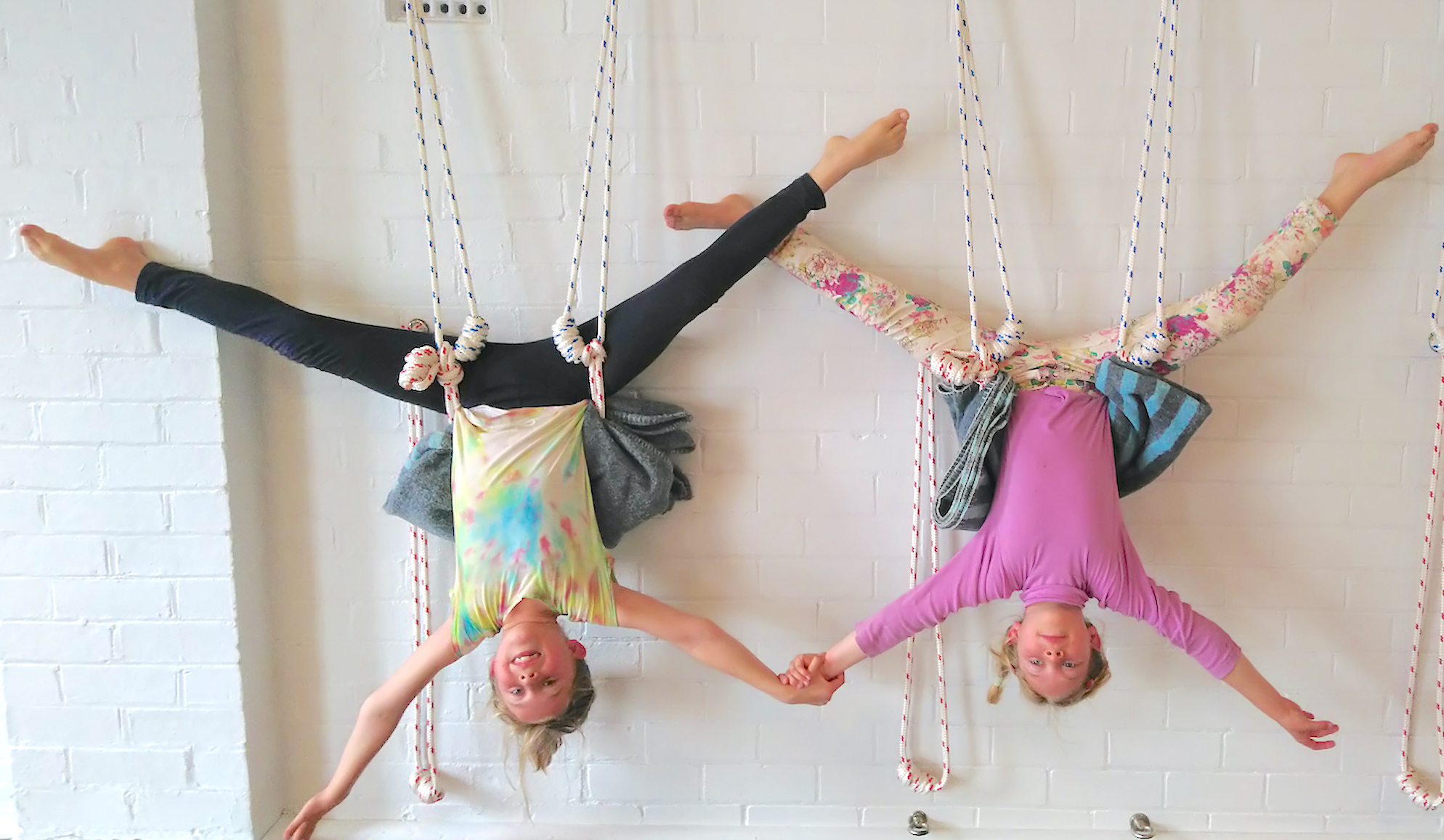 Kids having Fun in kids yoga class with ropes at Hamilton Yoga Newcastle New South Wales